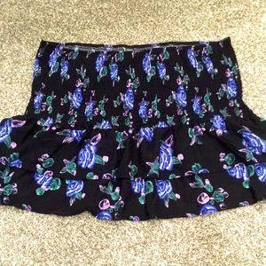 Wild Fable Floral Print Smocked Ruffle Mini Skirt